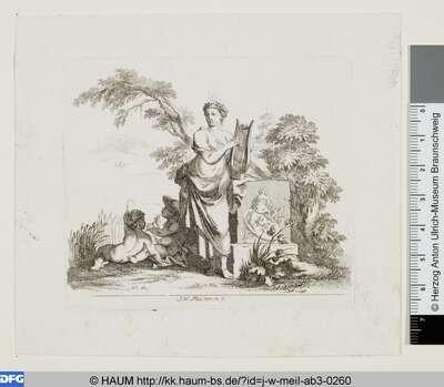 Muse mit Leier und zwei Genien neben einem Denkmal
