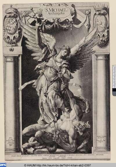 Die Statue des Erzengels Michael aus der Jesuitenkirche in München