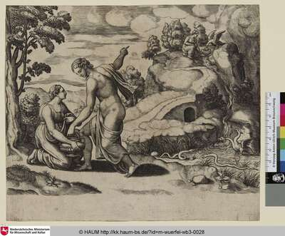 [Sujet isolé de l'histoire de Psyché; Venus Ordering Psyche to Seek Water from a Fountain Guarded by Dragons; Venus befiehlt Psyche Wasser von einer von Drachen bewachten Quelle zu schöpfen]
