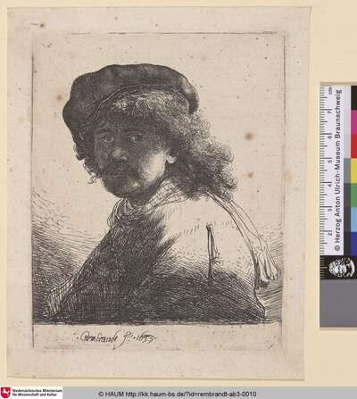 [Selbstbildnis mit Mütze, Schal und verschattetem Gesicht; Selbstbildnis mit der Schärpe; Self-Portrait in a Cap and Scarf with the Face Dark: Bust; Portrait de Rembrandt avec l'écharpe autour du cou]