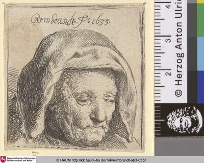 [Bildnis der Mutter des Künstlers mit einem Tuch als Kopfbedeckung; Kopf der Mutter Rembrandts; The Artist's Mother in a Cloth Headdress, Looking Down: Head Only; Tête de la mere de Rembrandt]