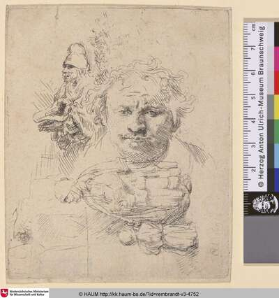 [Studienblatt: Selbstbildnis des Künstlers, Bettler, sowie Frau mit Kind; Sheet of Studies with the Head of the Artist, A Beggar Man, Woman and Child; Griffonnemens, où se voit le portrait de Rembrandt]