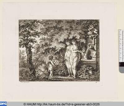 Ein flötender Armor besucht drei Mädchen am Brunnen im Walde
