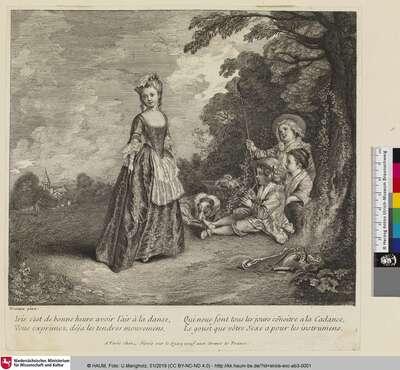 [Landschaft mit junger Frau und drei Kindern]
