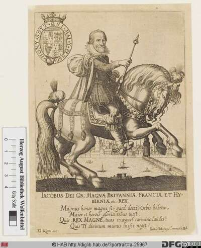 Bildnis Jakob (James) I. (Stuart), 1567 König von Schottland (als Jakob VI.), 1603-25 von England u. Schottland