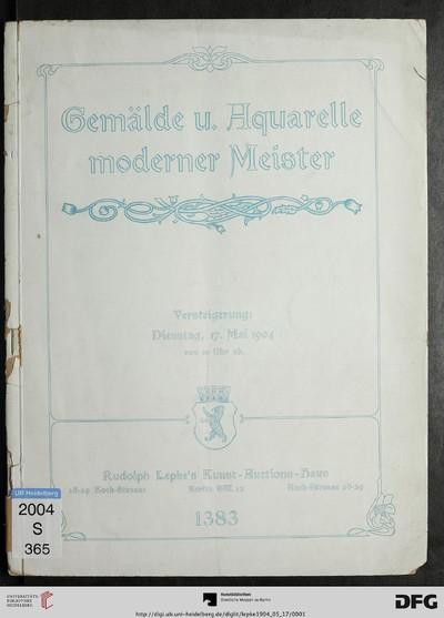 Ölgemälde und Aquarelle moderner Meister: dabei Werke von: A. Brendel ... ; Versteigerung: 17. Mai 1904 (Katalog Nr. 1383)