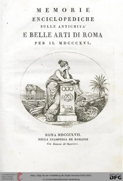 Memorie enciclopediche sulle antichita e belle arti di Roma - 1816