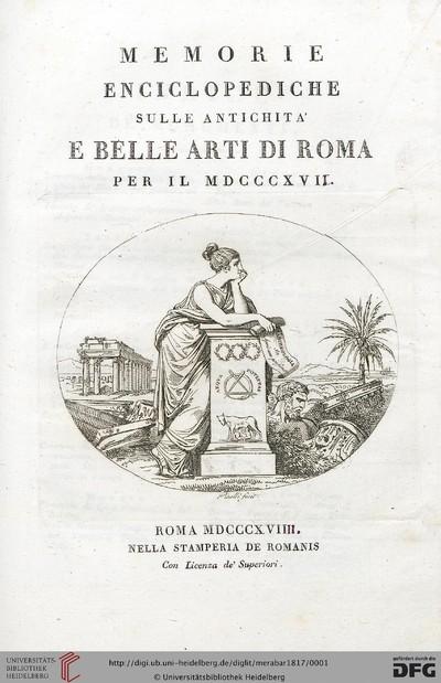 Memorie enciclopediche sulle antichita e belle arti di Roma - 1817