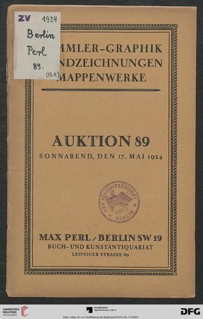 Moderne Graphik und Handzeichnungen: Original-Arbeiten von Boehle, Corinth, Daumier, ... ; Versteigerung: 17. Mai 1924 (Katalog Nr. 89)