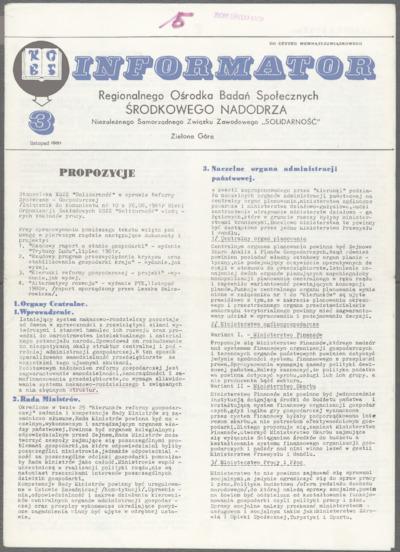 Informator Regionalnego Ośrodka Badań Społecznych Środkowego Nadodrza Niezależnego Samorządnego Związku Zawodowego Solidarność, nr 3