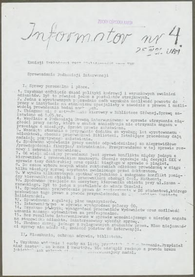 Informator Komisji Zakładowej NSZZ Solidarność przy UAM, nr 4