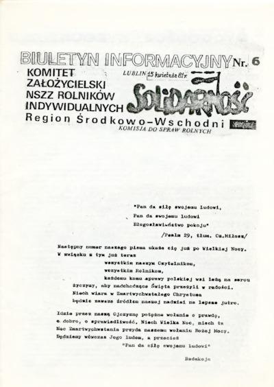 Biuletyn Informacyjny Solidarność, nr 6