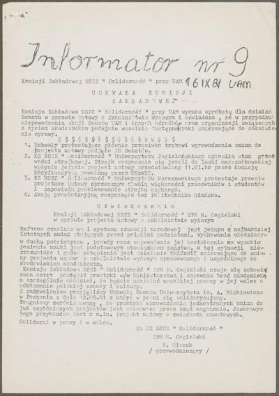 Informator Komisji Zakładowej NSZZ Solidarność przy UAM, nr 9