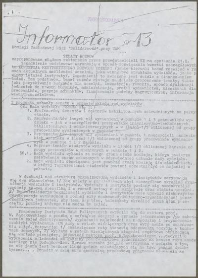 Informator Komisji Zakładowej NSZZ Solidarność przy UAM, nr 13
