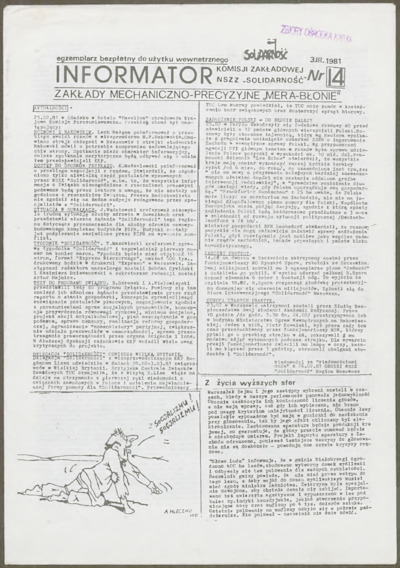 Informator Komisji Zakładowej NSZZ Solidarność, nr 14