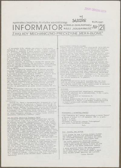 Informator Komisji Zakładowej NSZZ Solidarność, nr 21