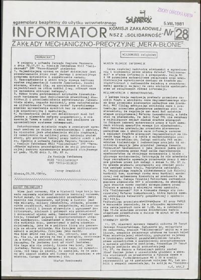 Informator Komisji Zakładowej NSZZ Solidarność, nr 28