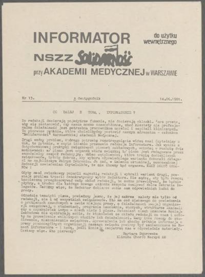 Informator NSZZ Solidarność przy Akademii Medycznej w Warszawie, nr 13