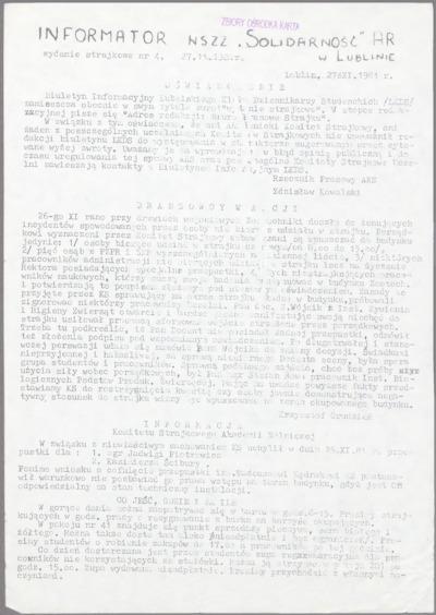 Informator NSZZ Solidarność AR w Lublinie, nr 4