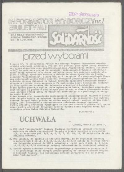 Informator Wyborczy Biuletynu Solidarność, nr 1