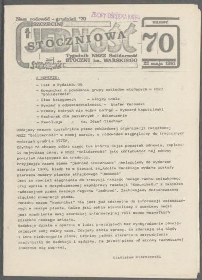 Jedność Stoczniowa. Tygodnik NSZZ Solidarność Stoczni im. Warskiego, nr 70
