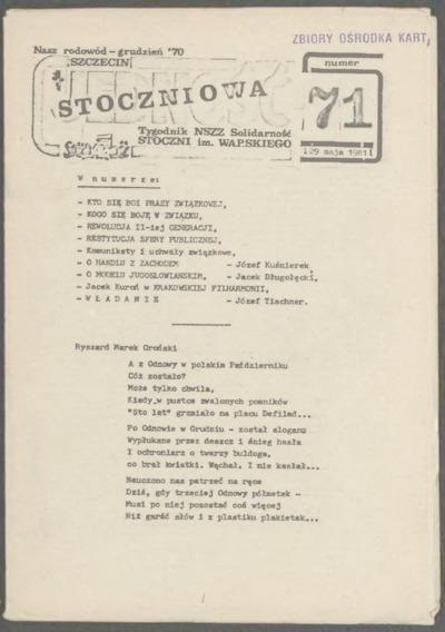 Jedność Stoczniowa. Tygodnik NSZZ Solidarność Stoczni im. Warskiego, nr 71