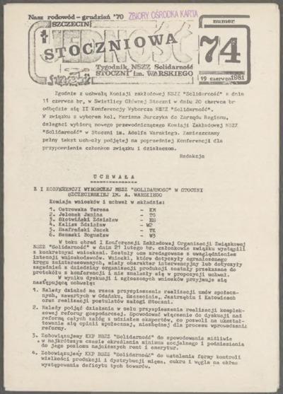 Jedność Stoczniowa. Tygodnik NSZZ Solidarność Stoczni im. Warskiego, nr 74