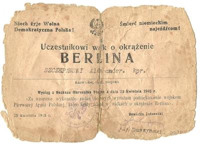 25.04.1945. Wyciąg z rozkazu Marszałka Stalina za uczestnictwo w walce o zdobycie Berlina