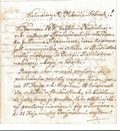 27.05.1862. List do proboszcza parafii Kamionna