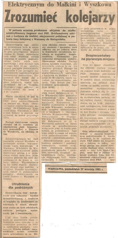 27.09.1982 Artykuł Zrozumieć Kolejarzy