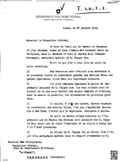 Lettre de Secrétan Daniel (1895-1971) à Petitpierre Max (1899-1994)