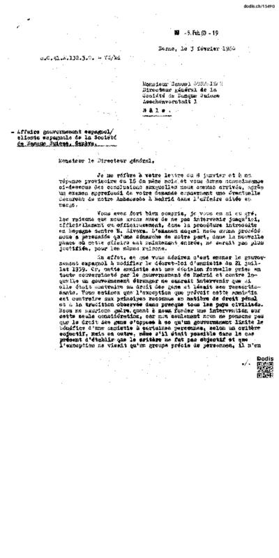 Affaire gouvernement espagnol / clients espagnols de la Société de Banque Suisse, Genève