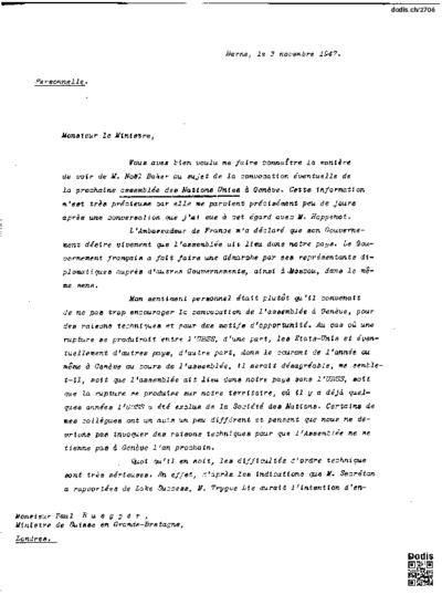 Lettre de Petitpierre Max (1899-1994) à Ruegger Paul (1897-1988)