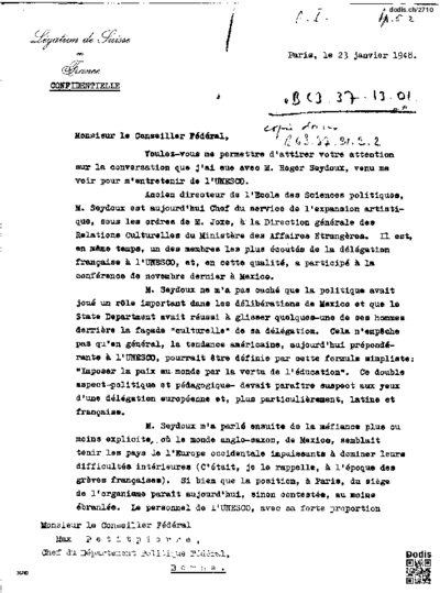 Lettre à Petitpierre Max (1899-1994)