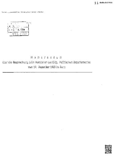 Memordandum über die Besprechung beim Vorsteher des Eidg. Politischen Departements vom 19. Dezember 1963 in Bern