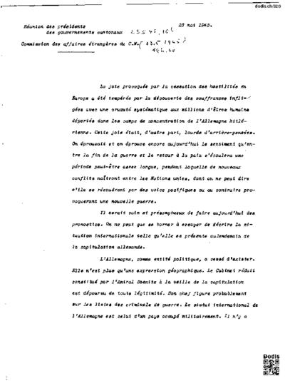 Réunion des présidents des gouvernements cantonaux, 23.5.1945, 10 h.  Commission des affaires étrangères du C. N. (23.5.1945, 19 h 30)