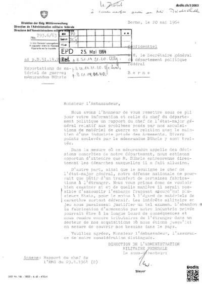 Exportations de matériel de guerre; mémorandum Bührle