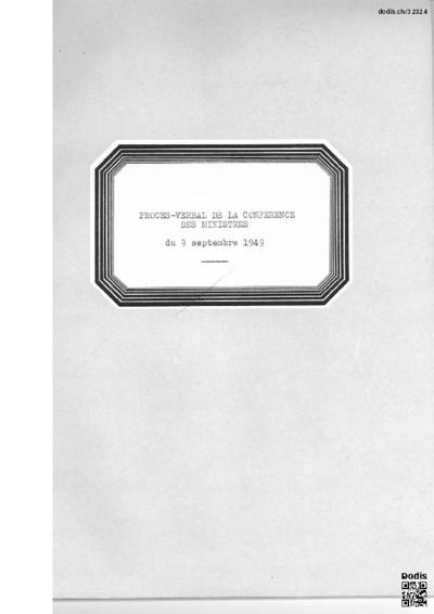 Procès-verbal de la conférence des ministres du 9 septembre 1949