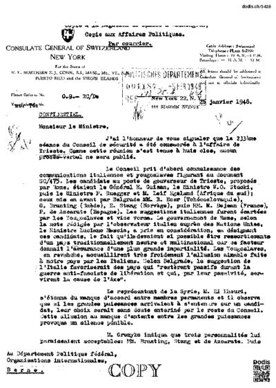 Lettre de Christinger Raymond (1917- à Secrétan Daniel (1895-1971)
