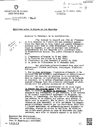 No. 3. Relations entre la Suisse et les Pays-Bas