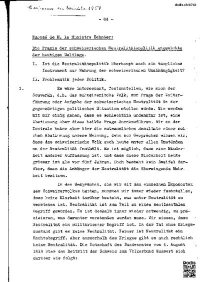 Die Praxis der schweizerischen Neutralitätspolitik angesichts der heutigen Weltlage.