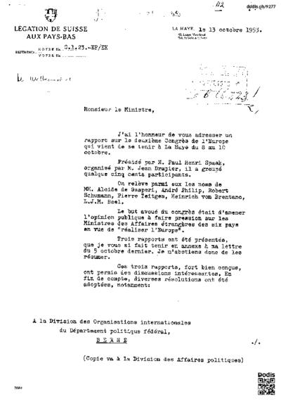 Lettre à Micheli Pierre (1905-1989)