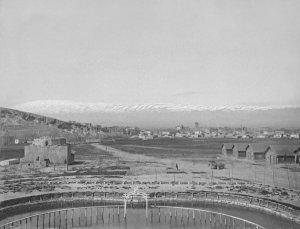 Baalbek, Blick vom Lager auf die Stadt nach Libanon