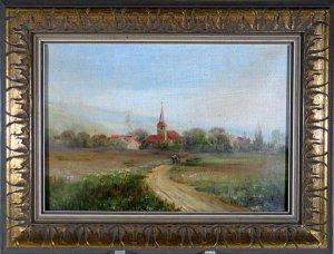 Landschaft mit Kirchdorf und Kutsche