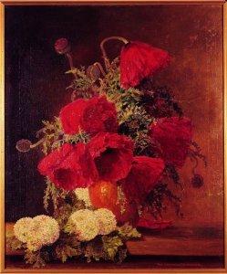 Roter Mohn und Schneeball in braun-gelber Vase