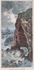 Helgoland: Brandung an der Felsenwand.