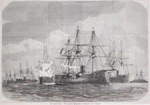 Die Nordseeblockade: Die französische Panzerflotte bei Helgoland, am 11. August