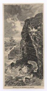 Brandung an der Felsenwand auf Helgoland.