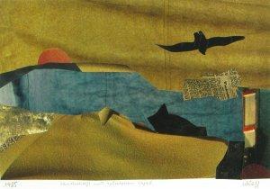 Landschaft mit schwarzem Vogel
