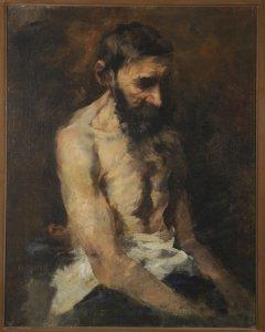 Halbakt eines alten Mannes, sitzend